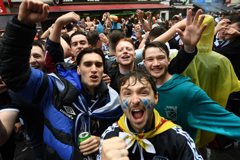 Scottish fans gather in Leicester Square in central London, ahead of the UEFA Euro 2020 match between England and Scotland at Wembley Stadium. Picture date: Friday June 18, 2021. PA Photo. Photo credit should read: Stefan Rousseau/PA Wire
