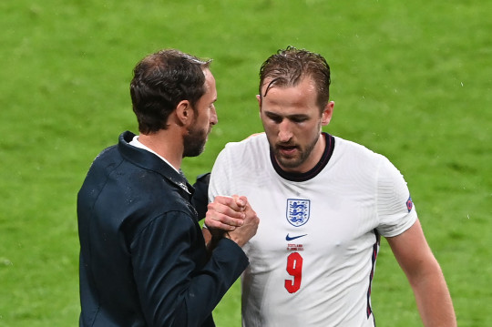 England's forward Harry Kane walks off the pitch after being susbstituted by England's forward Marcus Rashford during the UEFA EURO 2020 Group D football match between England and Scotland at Wembley Stadium in London on June 18, 2021. (Photo by FACUNDO ARRIZABALAGA / POOL / AFP) (Photo by FACUNDO ARRIZABALAGA/POOL/AFP via Getty Images)
