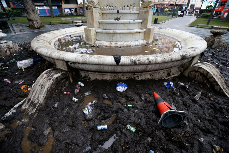 Rubbish left in the fountain in Leicester Square.  London's cleaners will spend today cleaning Leicester Square after Scottish football fans took over the West End before and after the Euro 2020 game.