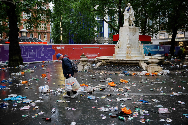 Rubbish is seen scattered across the Square after Scotland supporters gather in Leicester Square in central London. London's cleaners will spend today cleaning Leicester Square after Scottish football fans took over the West End before and after the Euro 2020 game.