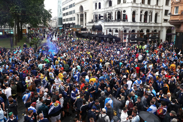 Thousands of Scottish football fans gathered in Leicester Square.  London's cleaners will spend today cleaning Leicester Square after Scottish football fans took over the West End before and after the Euro 2020 game.