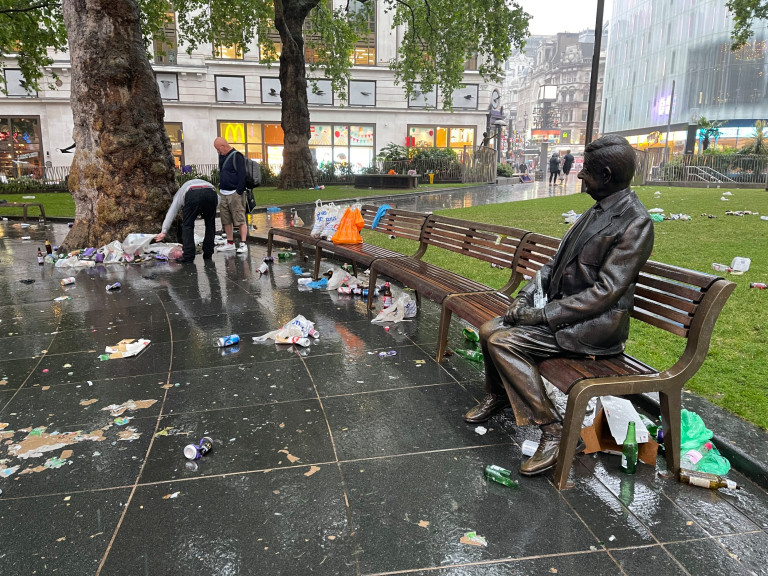 Rubbish scattered all over the floor. London's cleaners will spend today cleaning Leicester Square after Scottish football fans took over the West End before and after the Euro 2020 game.