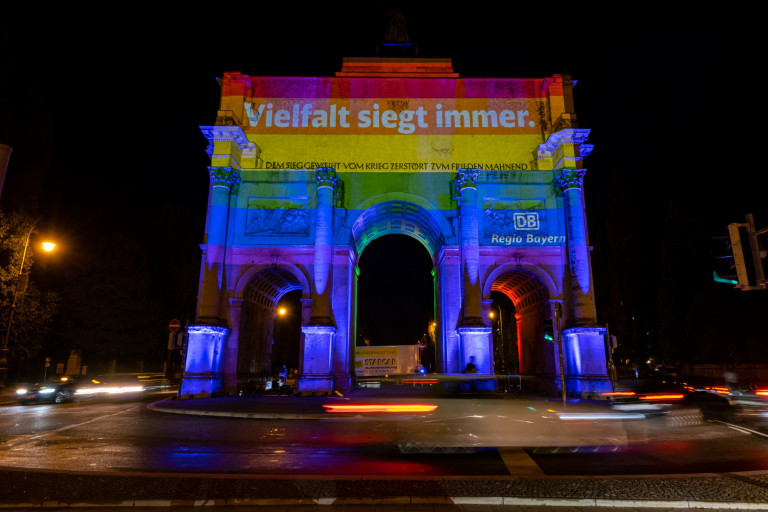 MUNICH, GERMANY - JUNE 23: The SIEGESTOR at Ludwigstra??e is illuminated in LGBT rainbow colors on June 23, 2021 in Munich, Germany. The rainbow displays coincide with tonight's UEFA Euro 2020 match between Germany and Hungary, whose government recently passed a law banning LGBT people from appearing in school educational materials and children's TV shows. UEFA denied a request from the mayor of Munich to illuminate Allianz Arena, the venue for tonight's match, in rainbow colors, citing the political motive of the request. (Photo by Leonhard Simon/Getty Images)