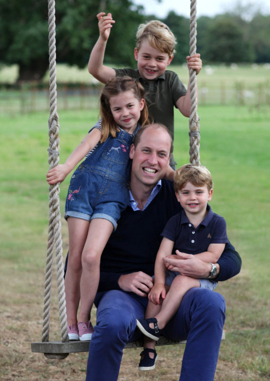 STRICTLY EMBARGOED UNTIL 2230 BST SATURDAY 20TH JUNE Copyright: Duke and Duchess of Cambridge. NEWS EDITORIAL USE ONLY. NO COMMERCIAL USE. NO MERCHANDISING, ADVERTISING, SOUVENIRS, MEMORABILIA or COLOURABLY SIMILAR. NOT FOR USE AFTER 31 DECEMBER, 2020, WITHOUT PRIOR PERMISSION FROM KENSINGTON PALACE. This photograph is provided to you strictly on condition that you will make no charge for the supply, release or publication of it and that these conditions and restrictions will apply (and that you will pass these on) to any organisation to whom you supply it. There shall be no commercial use whatsoever of the photographs (including by way of example only) any use in merchandising, advertising or any other non-news editorial use. The photographs must not be digitally enhanced, manipulated or modified in any manner or form and must include all of the individuals in the photograph when published. All other requests for use should be directed to the Press Office at Kensington Palace in writing. MANDATORY CREDIT: The Duchess of Cambridge. Undated handout photo released by Kensington Palace, which was taken by The Duchess earlier this month in Norfolk, of The Duke of Cambridge, Prince George, Princess Charlotte and Prince Louis in new pictures marking both his birthday and Father?s Day. The Duke of Cambridge turns 38 on Sunday. PA Photo. Issue date: Saturday June 20, 2020. See PA story ROYAL William. Photo credit should read: The Duchess of Cambridge/PA Wire NOTE TO EDITORS: This handout photo may only be used in for editorial reporting purposes for the contemporaneous illustration of events, things or the people in the image or facts mentioned in the caption. Reuse of the picture may require further permission from the copyright holder.