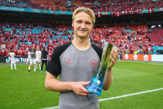 Dolberg won the Man of the Match award for his two-goal display