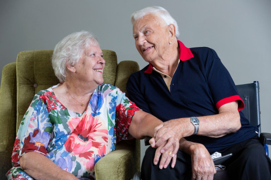 Care home residents Olga Fleming, 81, and John Wood, 89, have found love in lockdown. See SWNS copy SWLEcouple: A pair of lovestruck pensioners have embarked on an unlikely whirlwind romance after falling ?madly in love? with one and other - at the care home they both live. Olga Fleming, 80, and John Wood, 90, are both widowed and thought they would ?never find love again? after moving into residential care to enjoy their retirements. However, during lockdown the pair spent almost every waking minute together and ended up falling in love all over again.