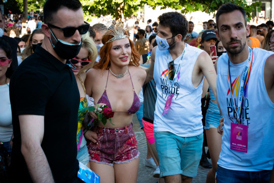 Superstar Bella Thorne and friends in crowd at Milan's Pride event