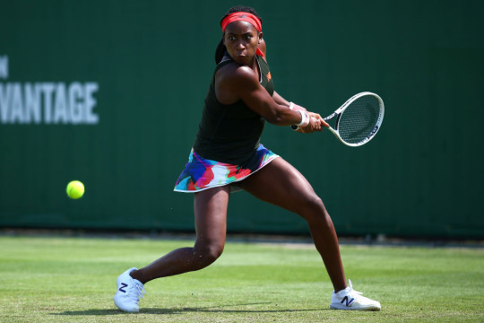 Cori Gauff of USA in acton during her second round women's singles match against Anastasija Sevastova of Latvia during day 5 of the Viking International Eastbourne at Devonshire Park on June 23, 2021 in Eastbourne, England.