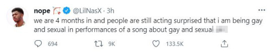 Lil Nas X's tweet about trolls criticising him over sexuality