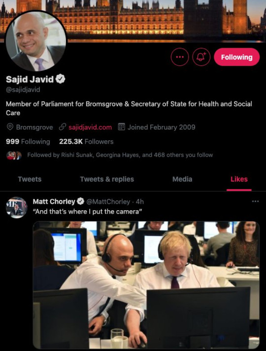 Sajid Javid's Twitter profile revealed he had 'liked' the tweet poking fun at his predecessor on Monday night