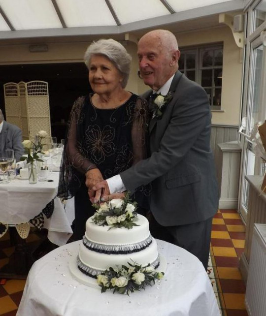 Euan Coffin, 84, and Freda Clark, 81, on their wedding day in 2021
