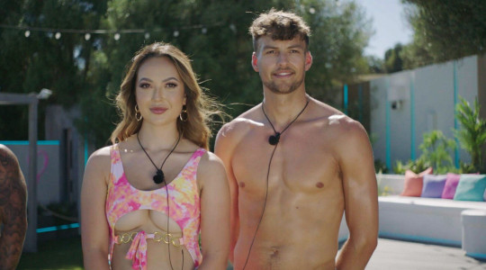 Editorial Use Only. No Merchandising. No Commercial Use. Mandatory Credit: Photo by ITV/Shutterstock (12172583bb) Sharon Gaffka and Hugo Hammond 'Love Island' TV show, Series 7, Episode 1, Majorca, Spain - 28 Jun 2021