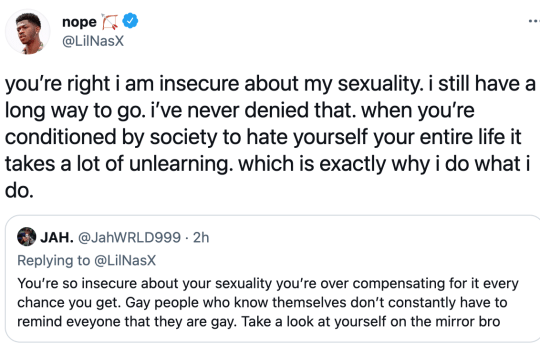 Lil Nas X's tweet in a response to a fan who accused him of being 'so insecure' about his sexuality