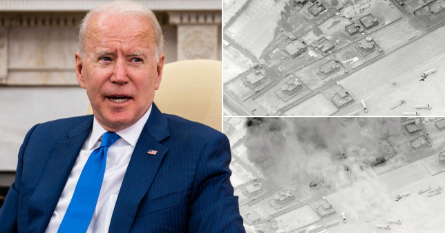 Rockets hit a US base in Syria less than 24 hours after President Joe Biden (left) ordered airstrikes on Iran-backed militias
