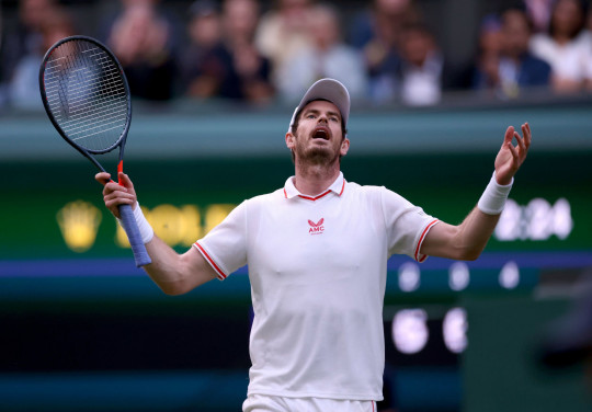 Andy Murray reacts during his Gentlemen's Singles second round match against Oscar Otte on centre court on day three of Wimbledon