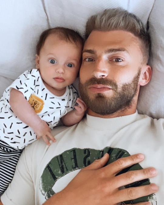 Jake Quickenden with his baby son Leo