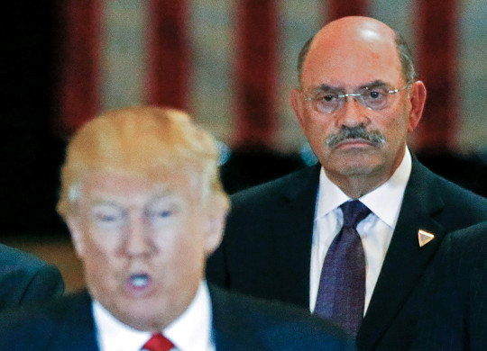 Trump Organization chief financial officer Allen Weisselberg looks on as then-Republican presidential candidate Donald Trump speaks during a news conference at Trump Tower. Weisselberg surrendered to the Manhattan district attorney's office ahead of criminal charges against him.