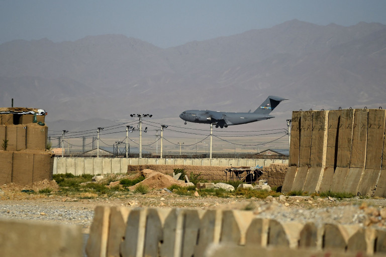 A US military air force lands at a US military base in Bagram, some 50 km north of Kabul on July 1, 2021. (Photo by WAKIL KOHSAR / AFP) (Photo by WAKIL KOHSAR/AFP via Getty Images)