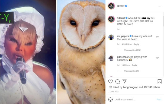 50 Cent posts meme comparing Lil' Kim's BET Awards outfit to an owl