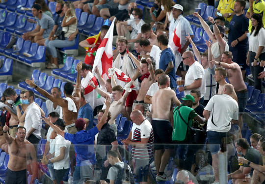 England fans in the stands during the UEFA Euro 2020 Quarter Final match at the Stadio Olimpico, Rome