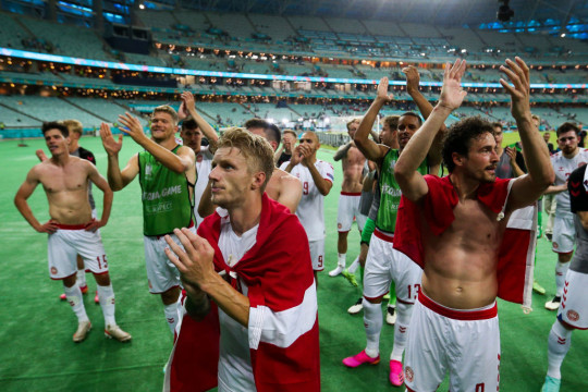 Denmark players celebrate after Euro 2020 victory over Czech Republic