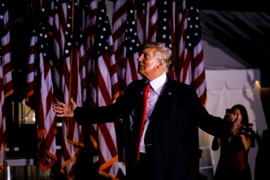 Former U.S. President Donald Trump leaves after a rally on July 3, 2021 in Sarasota, Florida.