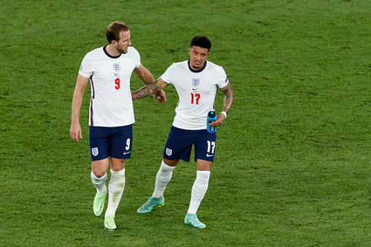 Harry Kane and Jadon Sancho look on during England's Euro 2020 clash with Ukraine