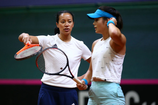 Great Britain Captain Anne Keothavong (L) gives advice to Emma Raducanu during a practice session prior to the Fed Cup Qualifier match between Slovakia and Great Britain at AXA Arena NTC on February 4, 2020 in Bratislava, Slovakia.