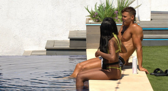 Brad McClelland and Rachel Finni chat by the pool on 'Love Island' TV show, Series 7, Episode 6, Majorca, Spain - 04 Jul 2021