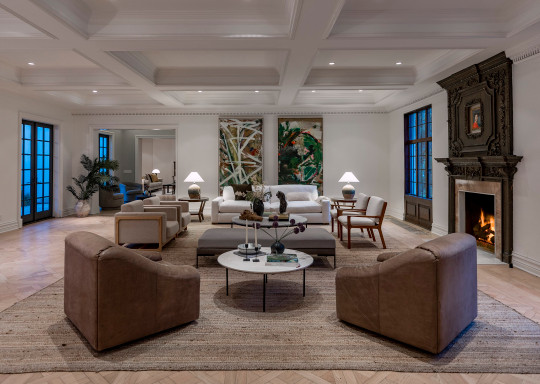 a living room in a beverly hills mansion for sale