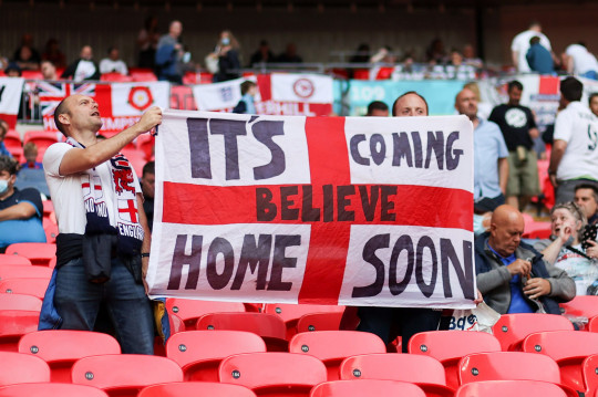 LONDON, ENGLAND - JULY 07: England fans show their support prior to the UEFA Euro 2020 Championship Semi-final match between England and Denmark at Wembley Stadium on July 07, 2021 in London, England. (Photo by Carl Recine - Pool/Getty Images)