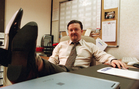 TELEVISION PROGRAMMES ... The Office Ricky Gervais pictured as David Brent, in a scene from the BBC sitcom.