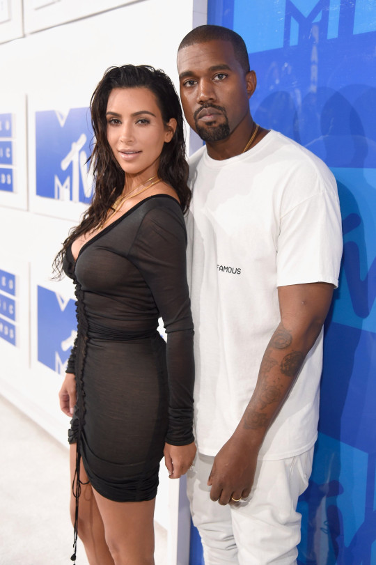 NEW YORK, NY - AUGUST 28: Kim Kardashian West and Kanye West attends the 2016 MTV Video Music Awards at Madison Square Garden on August 28, 2016 in New York City. (Photo by Kevin Mazur/WireImage)