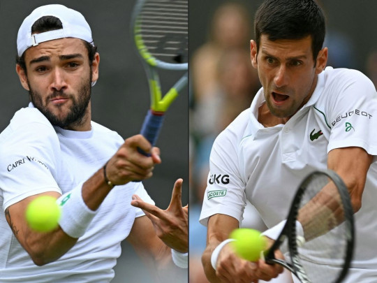 Italy's Matteo Berrettini returns against Poland's Hubert Hurkacz during their men's singles semi-final match on the eleventh day of the 2021 Wimbledon Championships at The All England Tennis Club in Wimbledon, southwest London, on July 9, 2021, and Serbia's Novak Djokovic returns against Canada's Denis Shapovalov during their men's singles semi-final match on the eleventh day of the 2021 Wimbledon Championships at The All England Tennis Club in Wimbledon, southwest London, on July 9, 2021.