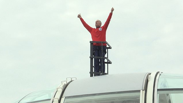 Sir Geoff Hurst shows England support on top of London Eye