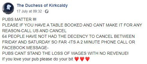 Pub hits out after 64 no-shows over the weekend who cost them thousands.