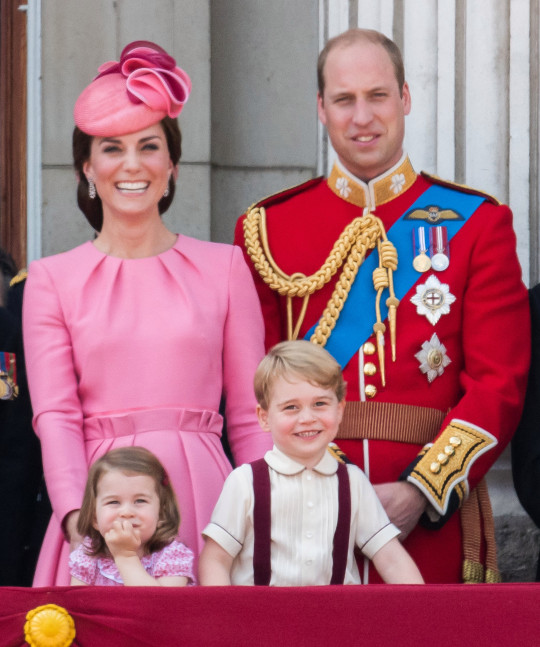 Kate Middleton, Prince William, Princess charlotte, and prince george watch trooping the colour