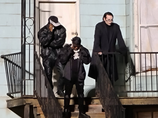 Marilyn Manson and Kanye West hang out on stage of a replica house of Kanyes late mother Donda in Chicago. 27 Aug 2021 Pictured: Donda, Marilyn Manson, Kanye West. Photo credit: Brian Prahl/MEGA TheMegaAgency.com +1 888 505 6342