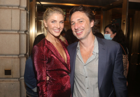 Amanda Kloots and Zach Braff pose as the musical Waitressre-opens