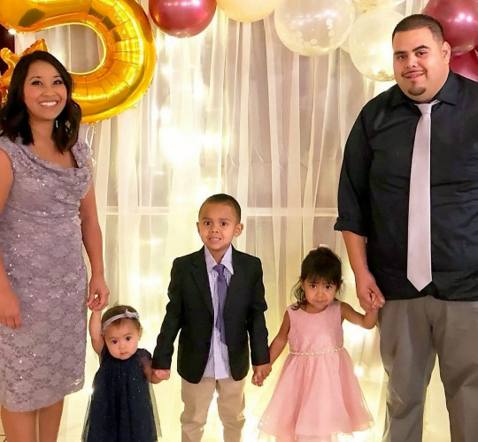 Davy Macias and her husband Daniel with their children. See SWNS story SWOCcovid. A nurse died with coronavirus before meeting her new-born daughter after refusing the vaccine while pregnant - leaving her family begging others to get the jab. Mum-of-five Davy Macias, 37, died after contracting the virus while on holiday with husband Daniel Macias, and their four children. Her family said she wary of getting the vaccine while pregnant with her baby, who was delivered while she was in hospital with severe symptoms. She never got to meet her new daughter, born two weeks ago, who is named 'Baby Girl Macias' because dad Daniel is in a critical condition in hospital with Covid.