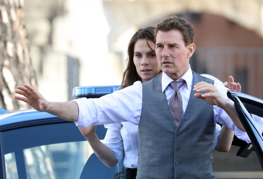 Tom Cruise and Hayley Atwell filming Mission Impossible 7