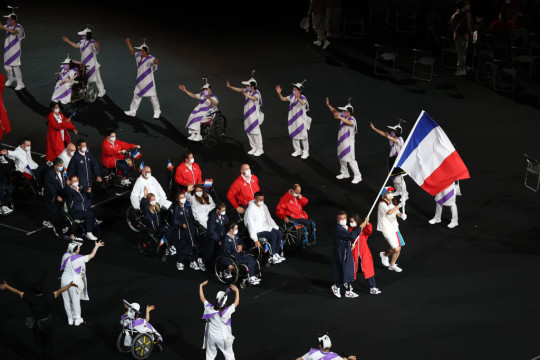The Paralympian's of France at the opening ceremony of the Tokyo 2020 Paralympics.