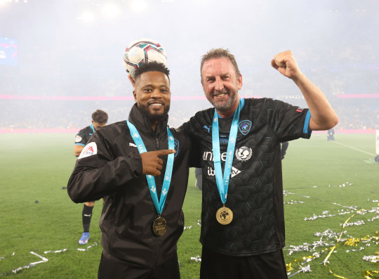 MANCHESTER, ENGLAND - SEPTEMBER 04: Patrice Evra and Lee Mack during Soccer Aid for Unicef 2021 at Etihad Stadium on September 4, 2021 in Manchester, England. (Photo by Mike Marsland/WireImage)