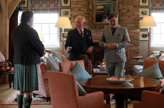 The Prince of Wales, known as the Duke of Rothesay while in Scotland, tours the Granary Accommodation, with Lord Thurso (left) and Michael Fawcett (right), which he officially opened during a visit to the Castle of Mey in Caithness. PRESS ASSOCIATION Photo. Picture date: Wednesday May 1, 2019. Photo credit should read: Andrew Milligan/PA Wire
