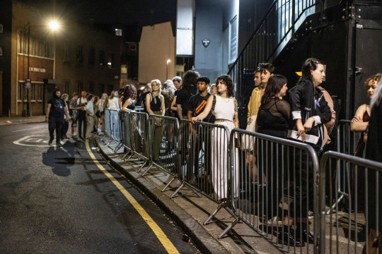 Mandatory Credit: Photo by Jeff Gilbert/REX/Shutterstock (12222696j) People queue up outside the 'Oval Space' night club in Bethnal Green for the 'First Night of Freedom' since the Lockdown rules are lifted. 'Oval Space' night club, Bethnal Green, London, UK - 19 Jul 2021