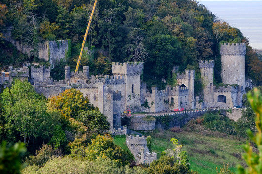 Aerial view of Gwrych Castle in Abergele, north Wales where preparations are well under way for this years I'm a Celebrity, Get me out of here. October 11, 2020. See SWNS story SWMDcelebrity.