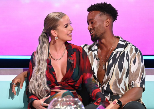 Mandatory Credit: Photo by Jonathan Hordle/REX/Shutterstock (12418379ca) Faye Winter and Teddy Soares 'Love Island: Aftersun - The Reunion' TV show, Series 7, Episode 8, London, UK - 05 Sep 2021