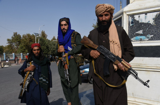 Mandatory Credit: Photo by Xinhua/REX/Shutterstock (12392050a) Taliban members are seen in Mazar-i-Sharif, capital of northern Balkh province, Afghanistan, Aug. 31, 2021. Afghanistan Balkh Mazar I Sharif Taliban - 31 Aug 2021