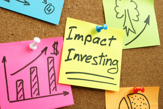 Impact investing words with charts.