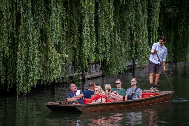 People out punting on the river Cam in Cambridge. Temperatures hit the high 20s for much of the Country and the forecast is the the same for much of the week.